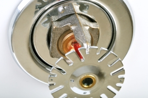 Close up image of fire sprinkler on white. Fire sprinklers are part of an integrated water piping system designed for life and fire safety.