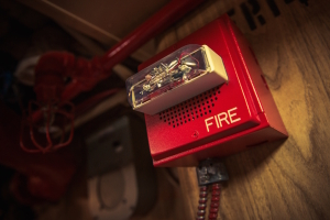 Fire Alarm with Strobe Safety Device Connected to Fire Response System.